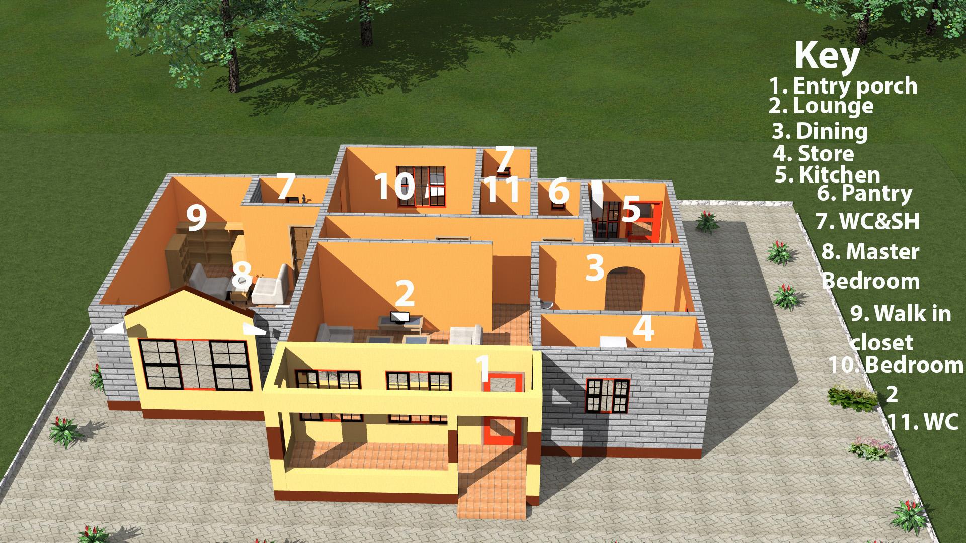 2 bedrooms gamble layout
