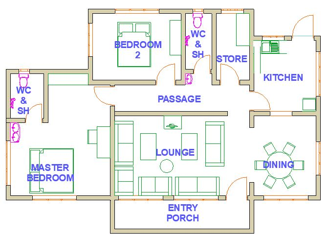2 bedrooms layout overview