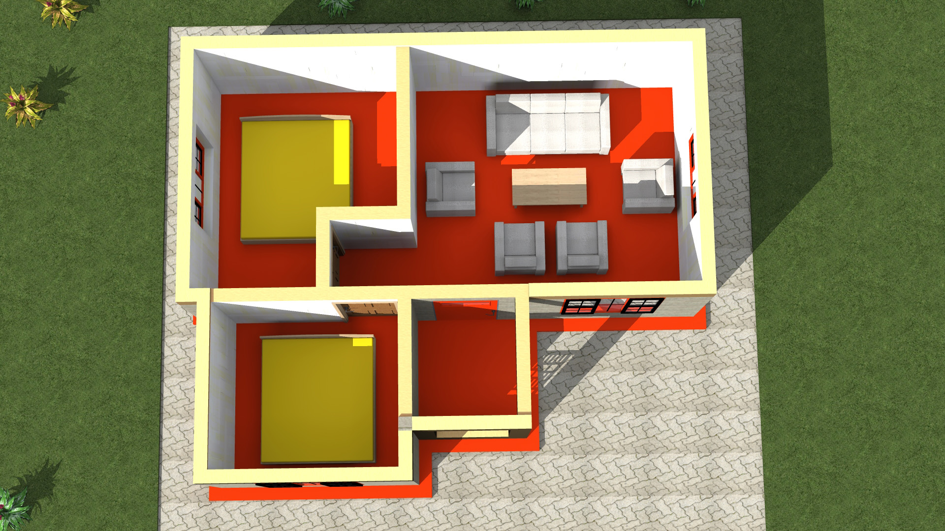 simple low cost 2 bedroom house plan