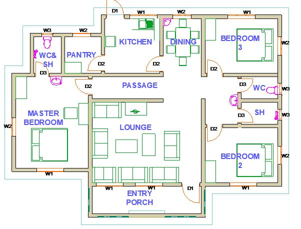 3 bedrooms house plan