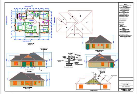 screenshot 3 bedroom house plan pdf in Kenya